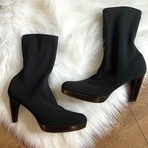 Stuart Weitzman Black Sock Boot Heels | Size 10